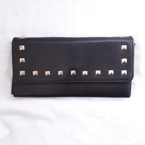 Atmosphere studded snap button faux leather wallet